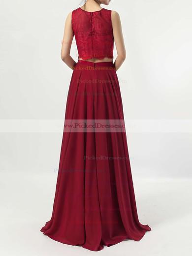 A-line Scoop Neck Lace Chiffon Floor-length Bridesmaid Dresses #PDS01013541