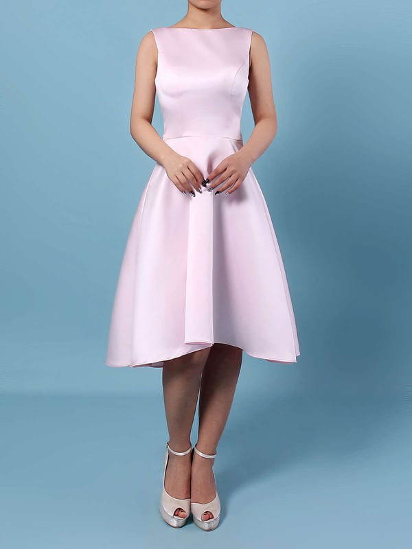 A-line Scoop Neck Asymmetrical Satin Chiffon Bridesmaid Dresses #PDS01013542