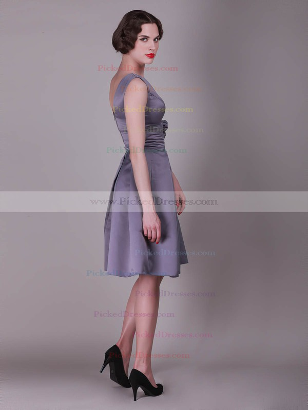 Taffeta A-line Bateau Knee-length Flower(s) Bridesmaid Dresses #PDS02013636
