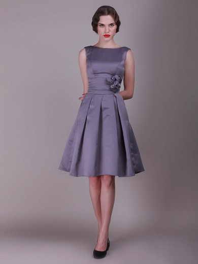 Taffeta A-line Bateau Knee-length Flower(s) Bridesmaid Dresses #PDS02013636