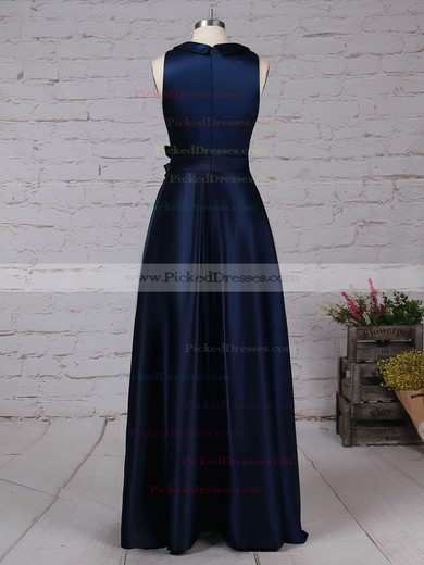 A-line Scoop Neck Floor-length Satin Sashes / Ribbons Bridesmaid Dresses #PDS01013544