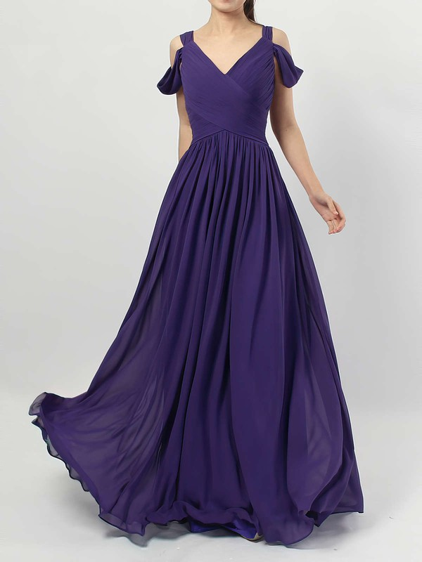 Empire V-neck Floor-length Chiffon Ruffles Bridesmaid Dresses #PDS01013547