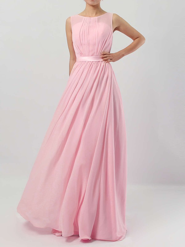 A-line Scoop Neck Floor-length Chiffon Sashes / Ribbons Bridesmaid Dresses #PDS01013550