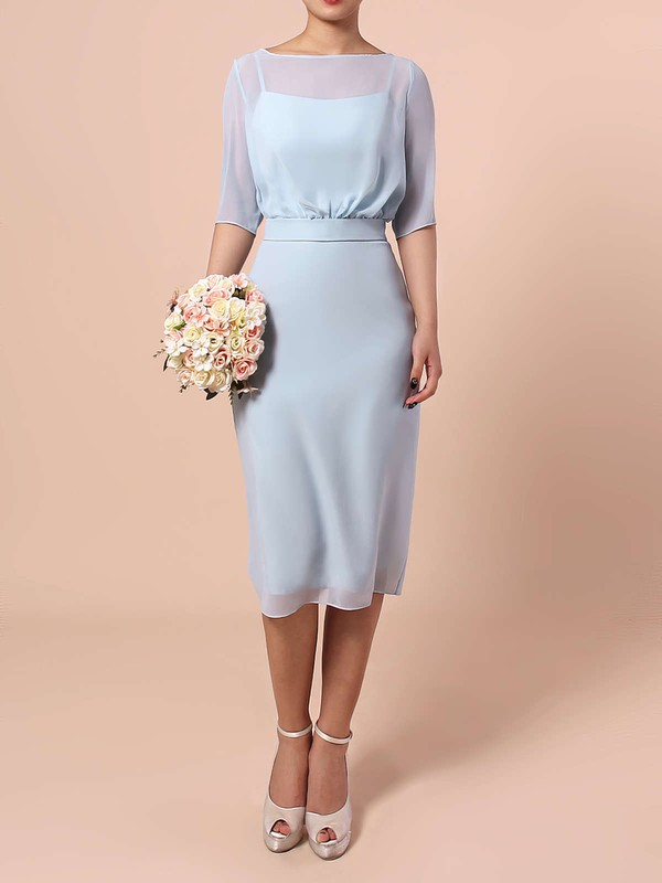 Sheath/Column Scoop Neck Knee-length Chiffon Sashes / Ribbons Bridesmaid Dresses #PDS01013551