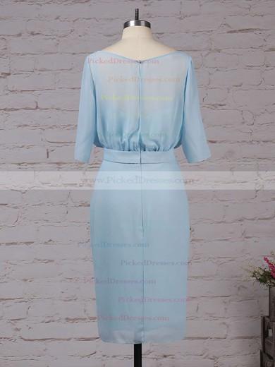 Sheath/Column Scoop Neck Knee-length Chiffon Sashes / Ribbons Bridesmaid Dresses #PDS01013551