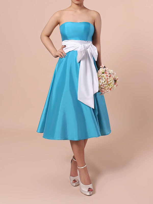 A-line Strapless Knee-length Satin Sashes / Ribbons Bridesmaid Dresses #PDS01013553