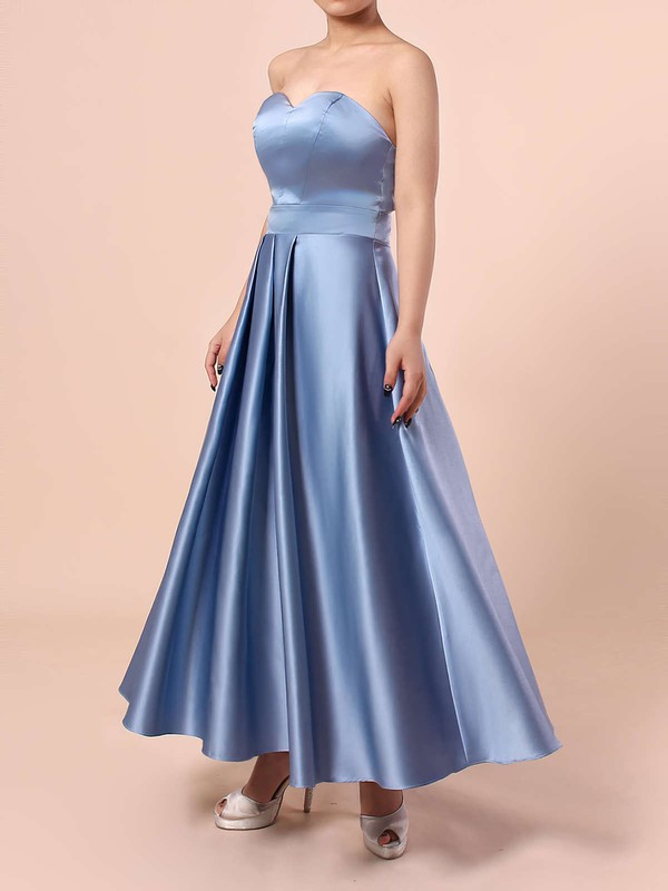A-line Sweetheart Tea-length Satin Sashes / Ribbons Bridesmaid Dresses #PDS01013555