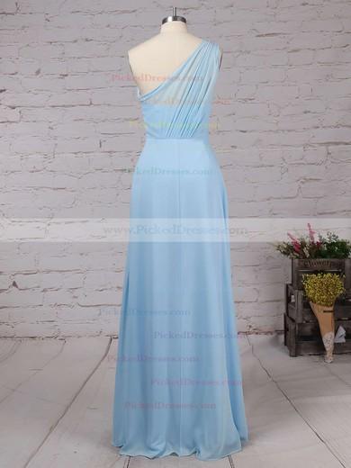 A-line One Shoulder Floor-length Chiffon Ruffles Bridesmaid Dresses #PDS01013561