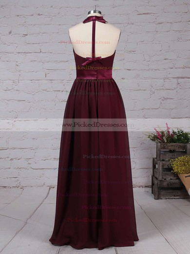 A-line Halter Floor-length Chiffon Sashes / Ribbons Bridesmaid Dresses #PDS01013563