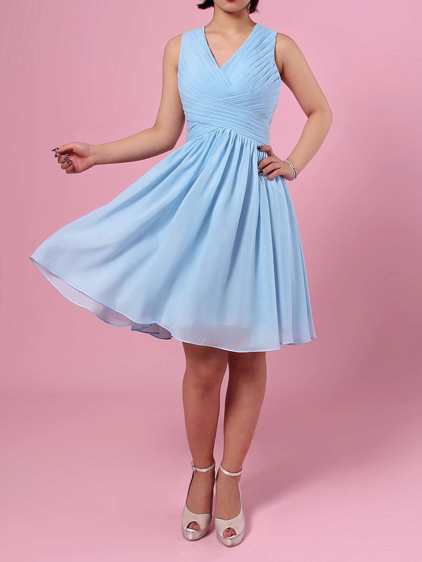 A-line V-neck Knee-length Chiffon Ruffles Bridesmaid Dresses #PDS01013564