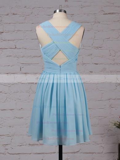 A-line V-neck Knee-length Chiffon Ruffles Bridesmaid Dresses #PDS01013564