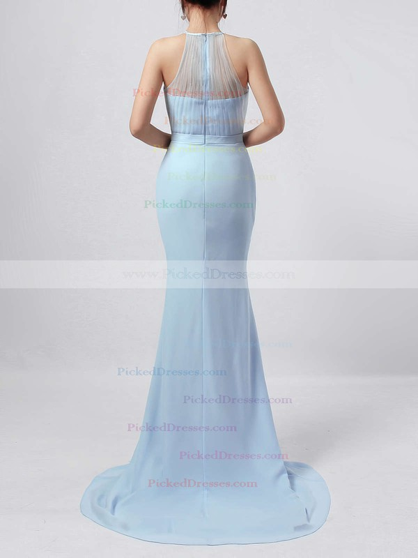Trumpet/Mermaid Scoop Neck Sweep Train Chiffon Tulle Sashes / Ribbons Bridesmaid Dresses #PDS01013568