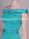 Satin A-line Off-the-shoulder Knee-length Draped Bridesmaid Dresses #PDS02013637