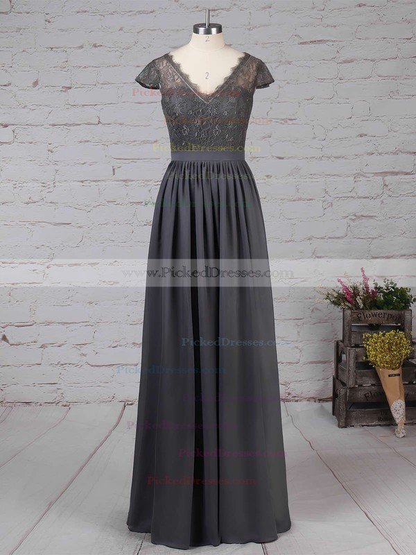 A-line V-neck Lace Chiffon Floor-length Sashes / Ribbons Bridesmaid Dresses #PDS01013569