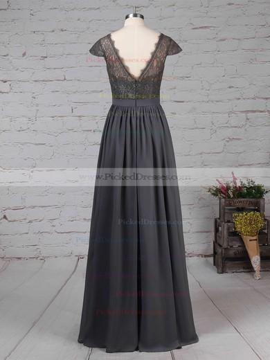 A-line V-neck Lace Chiffon Floor-length Sashes / Ribbons Bridesmaid Dresses #PDS01013569