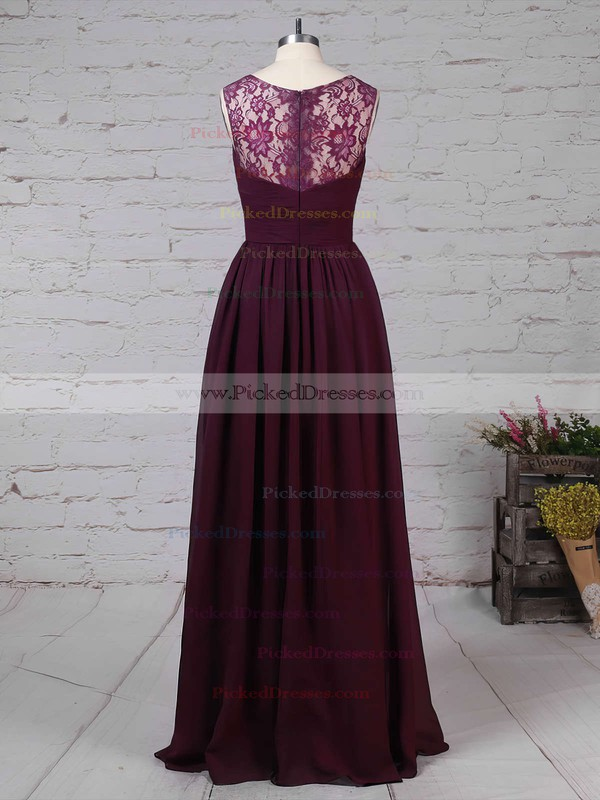 A-line V-neck Floor-length Lace Chiffon Ruffles Bridesmaid Dresses #PDS01013571