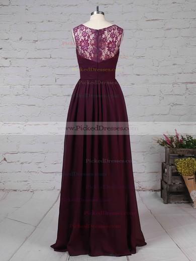 A-line V-neck Floor-length Lace Chiffon Ruffles Bridesmaid Dresses #PDS01013571