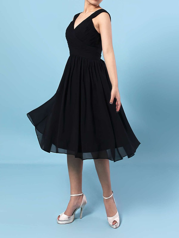 A-line V-neck Knee-length Chiffon Sashes / Ribbons Bridesmaid Dresses #PDS01013572