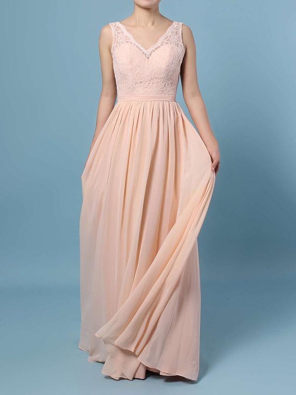 A-line V-neck Floor-length Lace Chiffon Sashes / Ribbons Bridesmaid Dresses #PDS01013574
