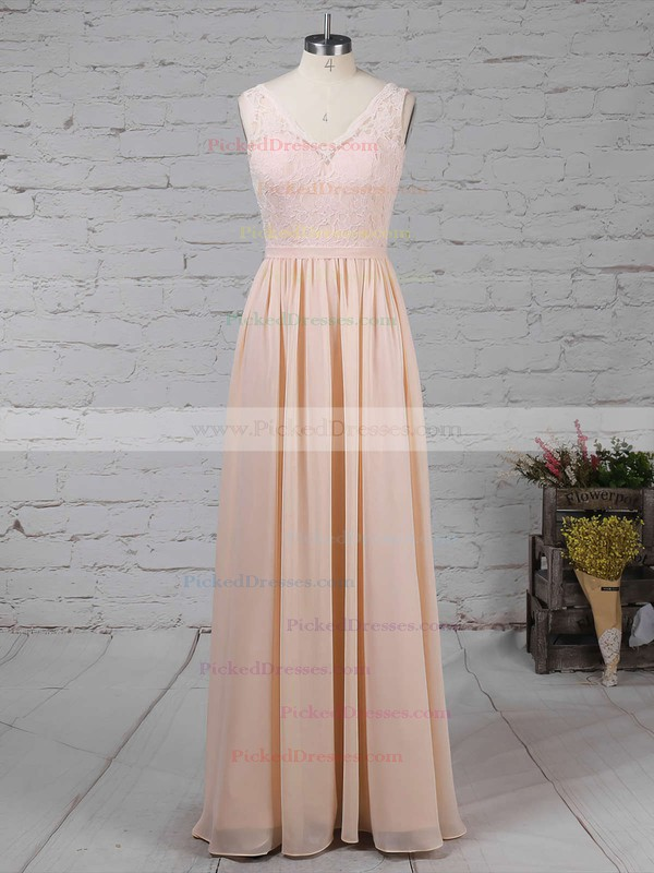 A-line V-neck Floor-length Lace Chiffon Sashes / Ribbons Bridesmaid Dresses #PDS01013574