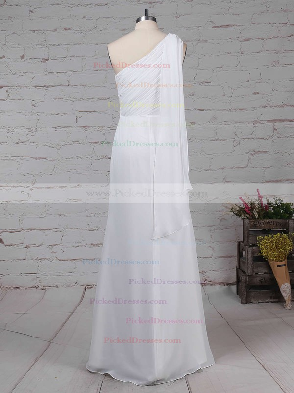 Sheath/Column One Shoulder Floor-length Chiffon Ruffles Bridesmaid Dresses #PDS01013575