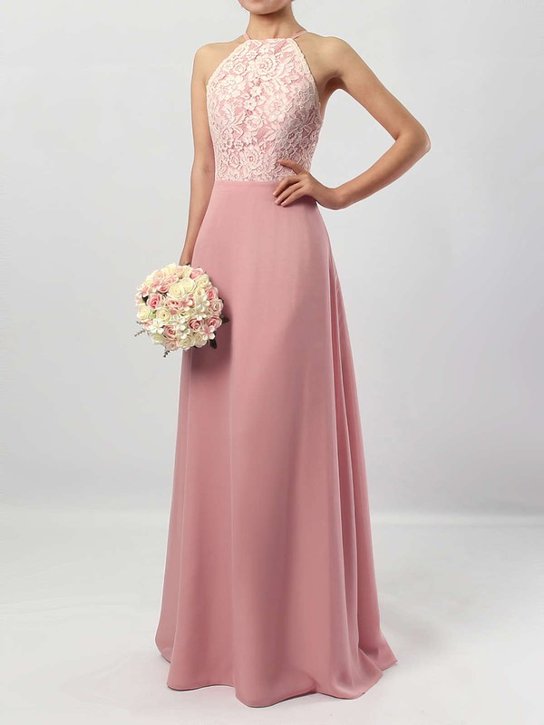 Sheath/Column Scoop Neck Floor-length Chiffon Lace Bridesmaid Dresses #PDS01013576