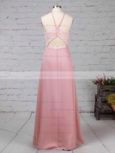 Sheath/Column Scoop Neck Floor-length Chiffon Lace Bridesmaid Dresses #PDS01013576