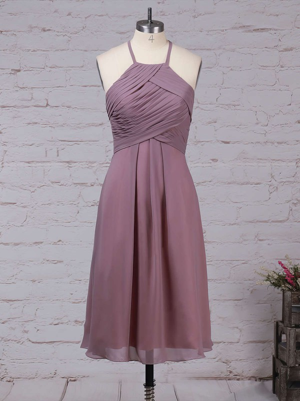 A-line Scoop Neck Knee-length Chiffon Ruffles Bridesmaid Dresses #PDS01013581