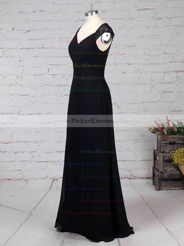 Empire V-neck Floor-length Lace Chiffon Ruffles Bridesmaid Dresses #PDS01013582