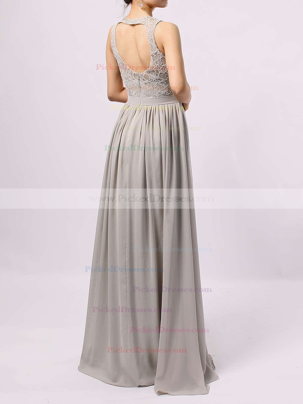 A-line Scoop Neck Lace Chiffon Floor-length Sashes / Ribbons Bridesmaid Dresses #PDS01013584