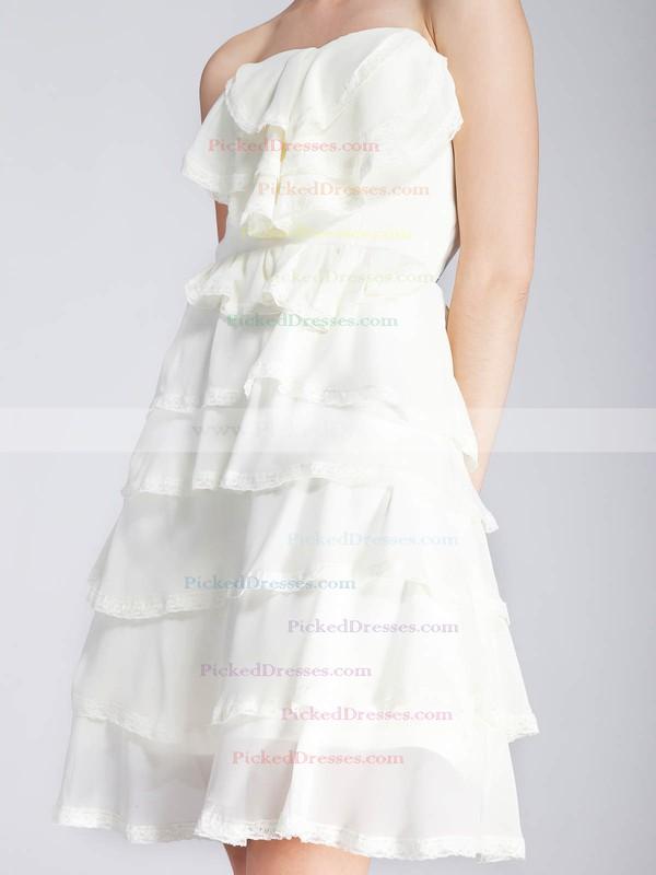 Chiffon A-line Strapless Short/Mini Tiered Bridesmaid Dresses #PDS02013671