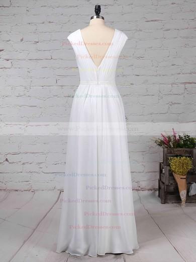 A-line V-neck Floor-length Chiffon Ruffles Bridesmaid Dresses #PDS01013587