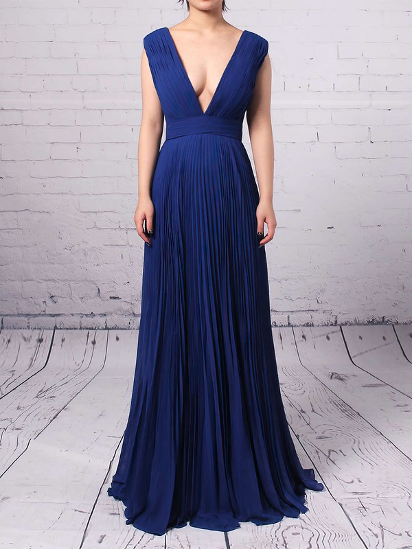 A-line V-neck Floor-length Chiffon Pleats Bridesmaid Dresses #PDS01013591
