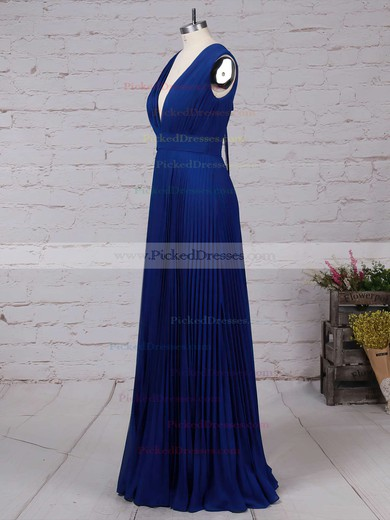 A-line V-neck Floor-length Chiffon Pleats Bridesmaid Dresses #PDS01013591