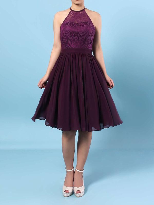 A-line Scoop Neck Short/Mini Lace Chiffon Ruffles Bridesmaid Dresses #PDS01013592