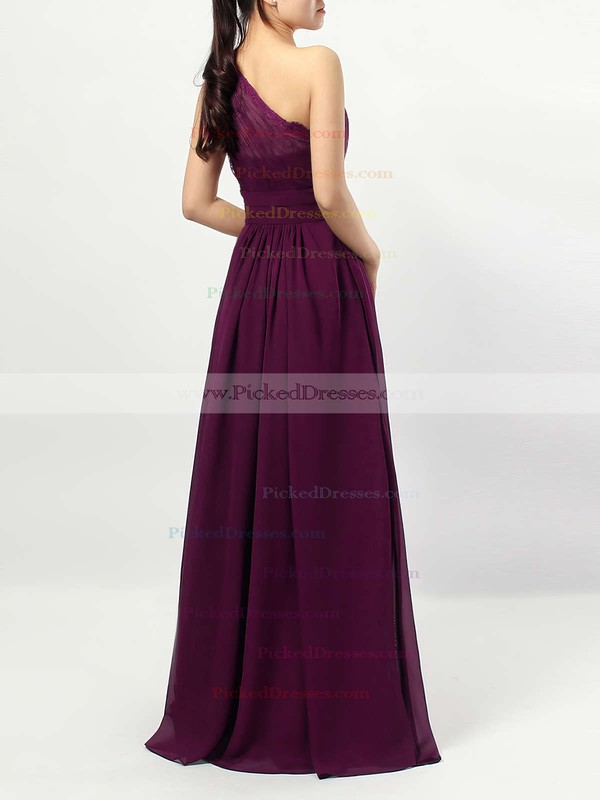 A-line One Shoulder Floor-length Lace Chiffon Ruffles Bridesmaid Dresses #PDS01013594