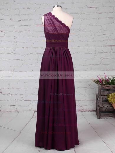 A-line One Shoulder Floor-length Lace Chiffon Ruffles Bridesmaid Dresses #PDS01013594