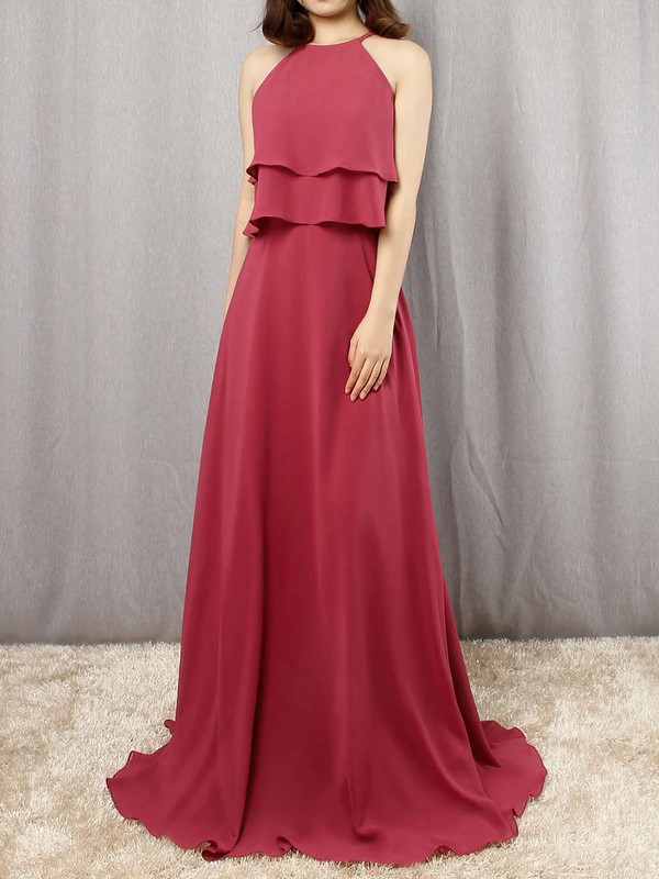 A-line Scoop Neck Floor-length Chiffon Cascading Ruffles Bridesmaid Dresses #PDS01013595