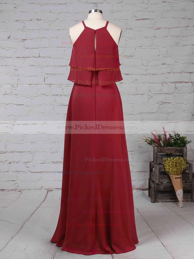 A-line Scoop Neck Floor-length Chiffon Cascading Ruffles Bridesmaid Dresses #PDS01013595