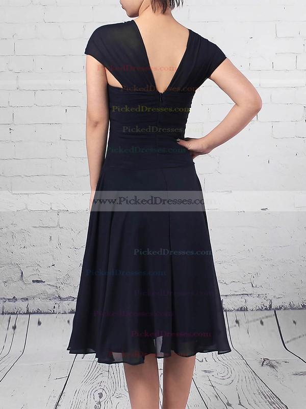 A-line V-neck Knee-length Chiffon Ruffles Mother of the Bride Dresses #PDS01021696