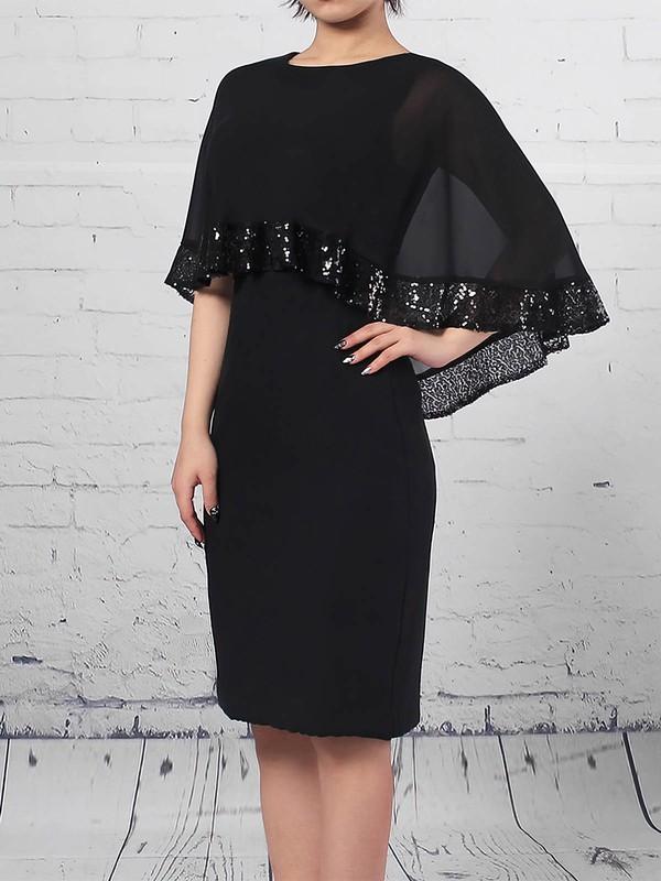 Sheath/Column Scoop Neck Knee-length Chiffon Sequins Mother of the Bride Dresses #PDS01021703