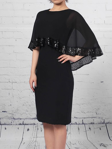 Sheath/Column Scoop Neck Knee-length Chiffon Sequins Mother of the Bride Dresses #PDS01021703