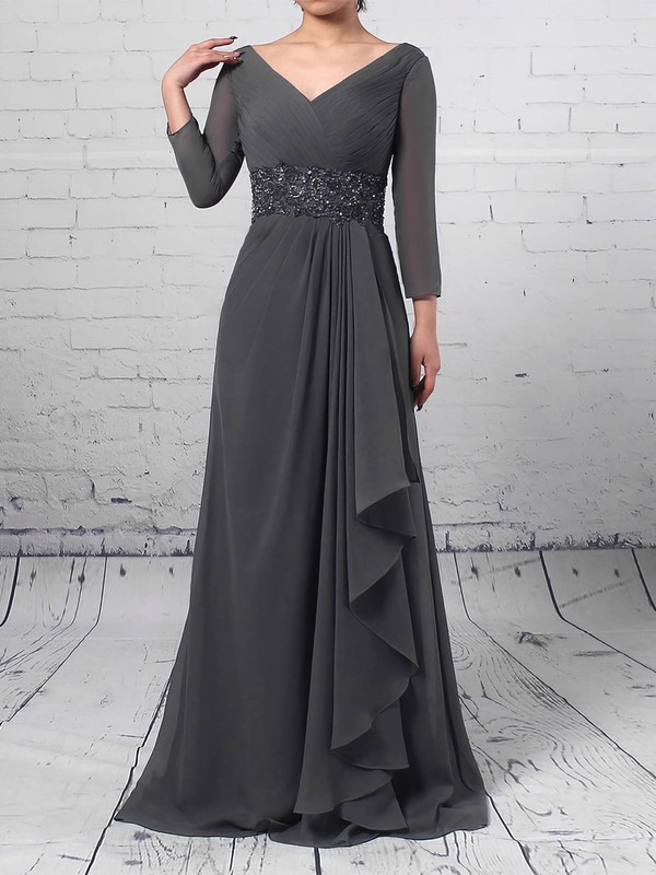 A-line V-neck Sweep Train Chiffon Beading Mother of the Bride Dresses #PDS01021700