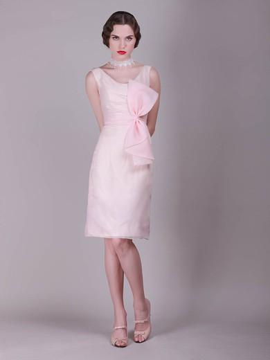 Chiffon A-line Scoop Knee-length Bow Bridesmaid Dresses #PDS02013680