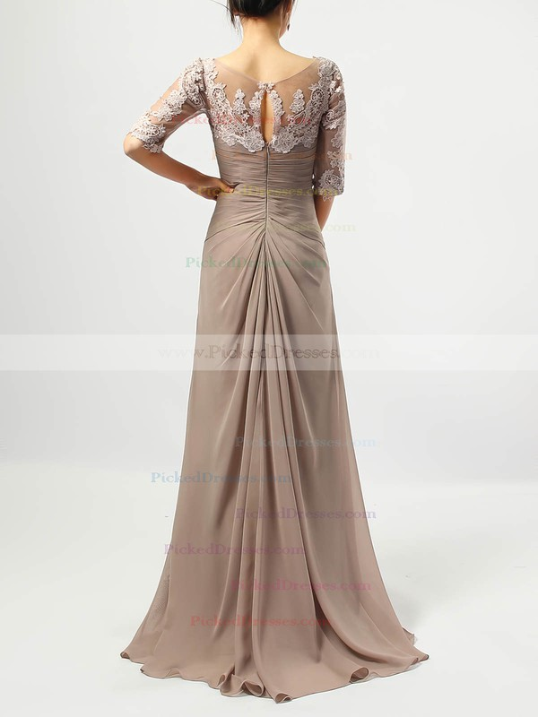 A-line V-neck Floor-length Chiffon Tulle Appliques Lace Mother of the Bride Dresses #PDS01021705