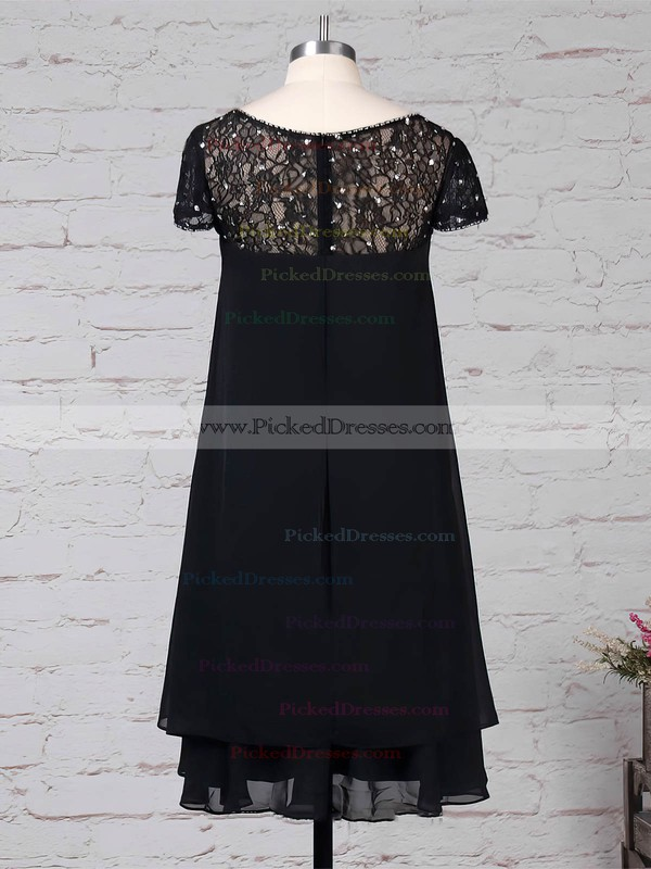 Empire Scoop Neck Knee-length Lace Chiffon Beading Mother of the Bride Dresses #PDS01021675