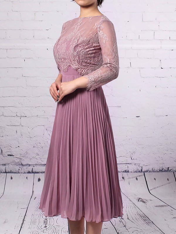 Sheath/Column Scoop Neck Knee-length Lace Chiffon Pleats Mother of the Bride Dresses #PDS01021677