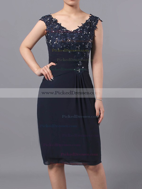 Sheath/Column V-neck Chiffon Tulle Knee-length Beading Mother of the Bride Dresses #PDS01021712