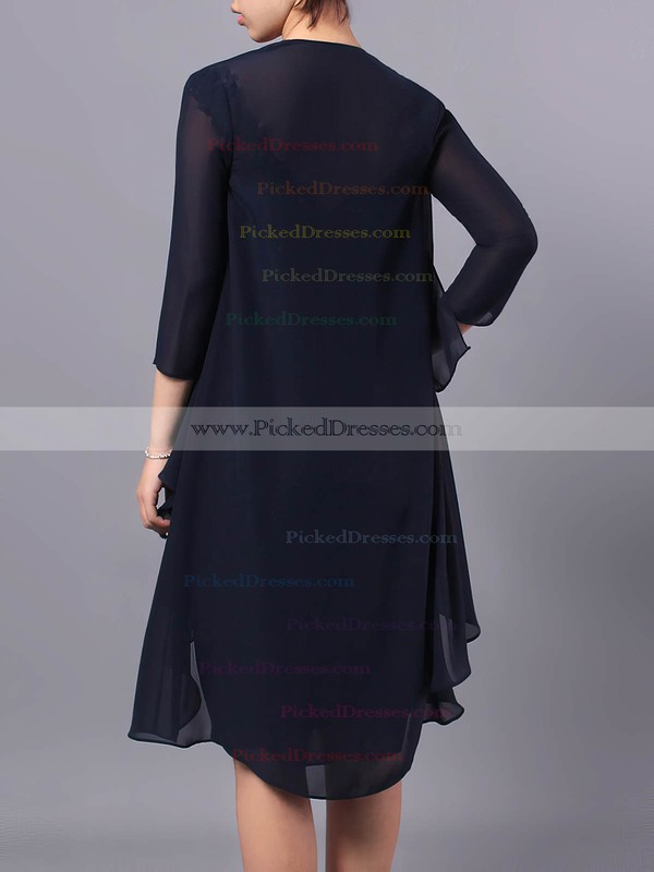 Sheath/Column V-neck Chiffon Tulle Knee-length Beading Mother of the Bride Dresses #PDS01021712