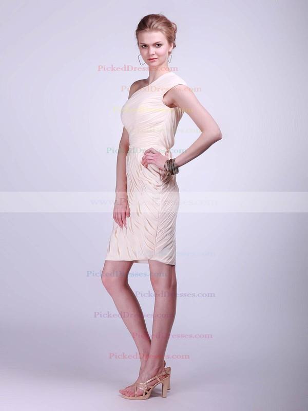Chiffon Sheath/Column One Shoulder Knee-length Pleats Bridesmaid Dresses #PDS02013681